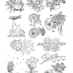 밑그림전사지/꽃손그림4